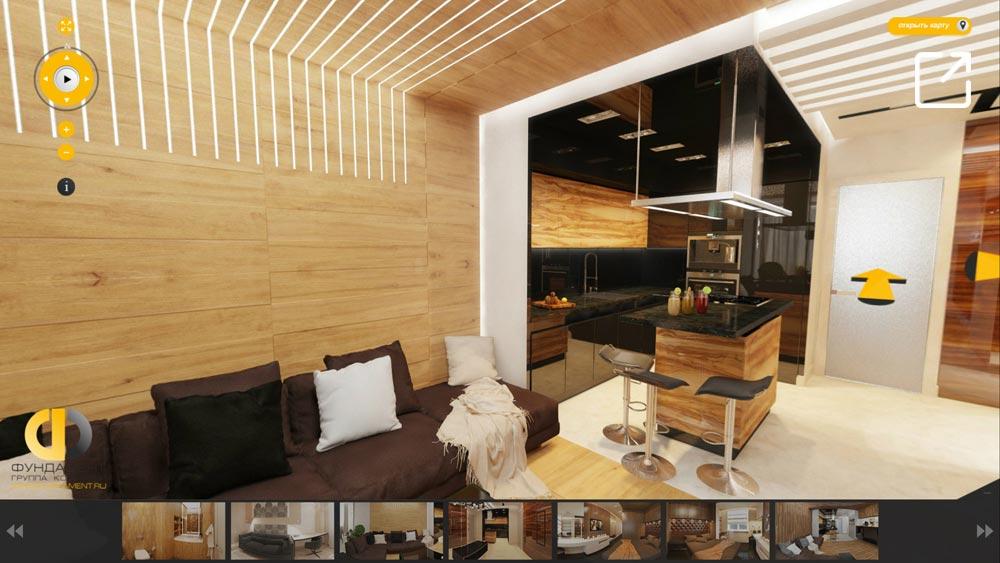 Дизайн интерьера квартиры с деревянной отделкой в 3d – Реутов
