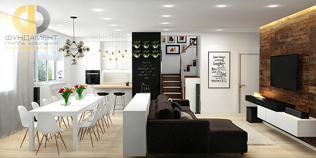 Дизайн гостиной с кухней. Современные идеи с фото