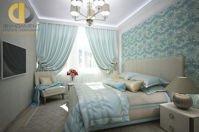 Дизайн спальни 12 кв. м с креслом. Фото интерьера в современном стиле