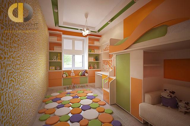 Дизайн детской комнаты для девочки. Фото интерьера в оранжевых тонах