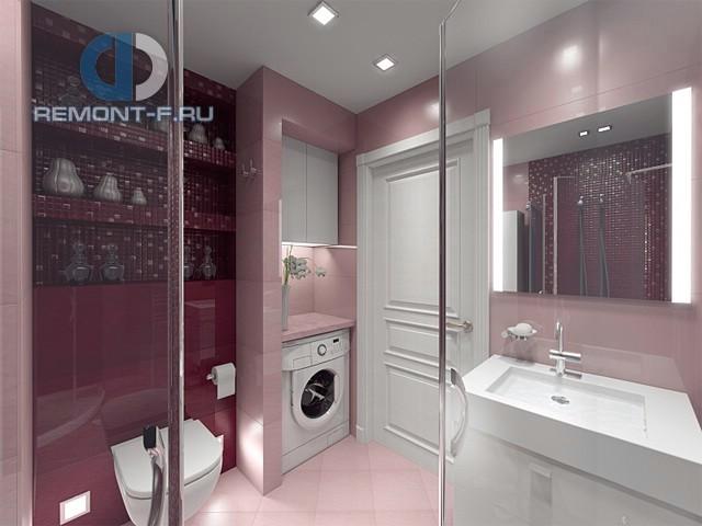 Ванная комнат со встроенной стиральной машиной