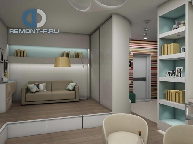 Дизайн однокомнатной квартиры 40 кв. м. Фото спального места на подиуме