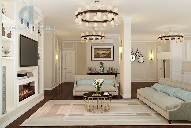 Дизайн гостиной в четырехкомнатной квартире на ул. Лиственной