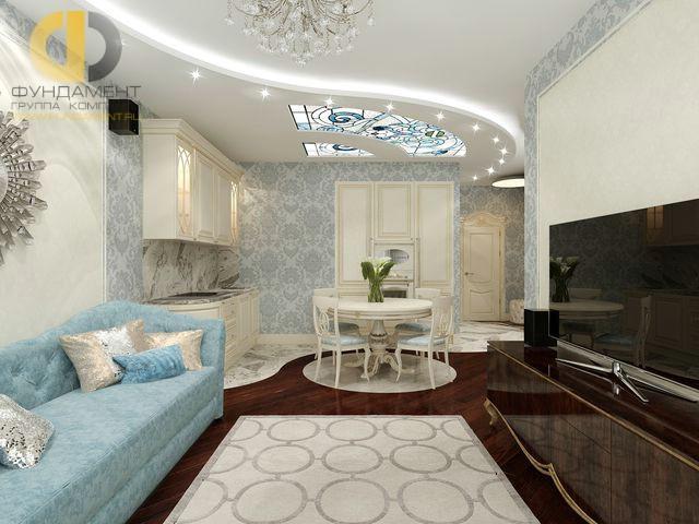 Дизайн гостиной-кухни в однокомнатной квартире 40 кв. м. Фото интерьера