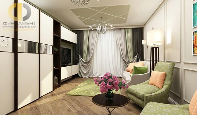 Современные идеи дизайна гостиной. Фото квартиры на Кастанаевской