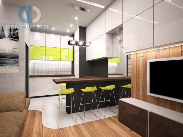 Оттенки лайма в кухне-гостиной
