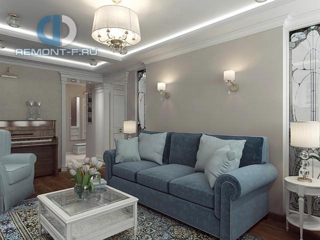 Дизайн диванной зоны с витражными панно