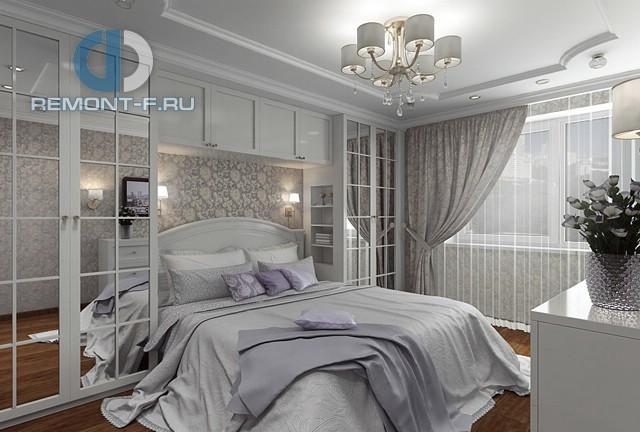 Дизайн светлой спальни с зеркальными шкафами