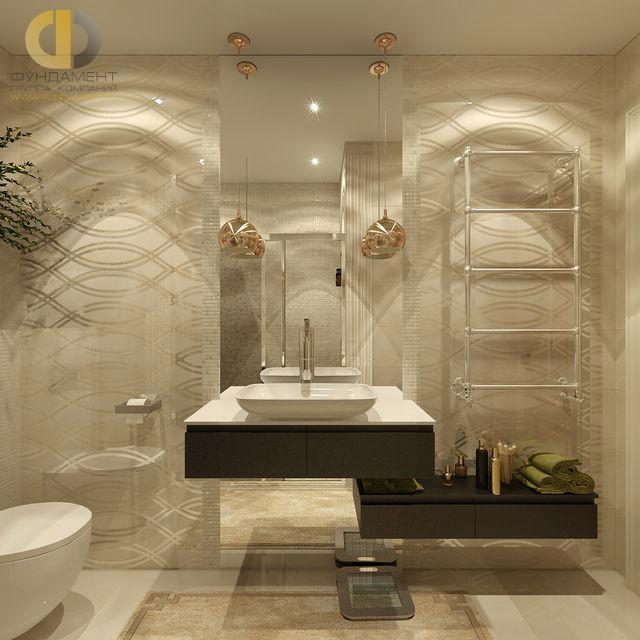 Отделка ванной комнаты плиткой: фото. Дизайн бежевого санузла