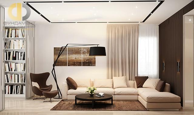 Дизайн гостиной в современном стиле. Фото квартиры на Мытной