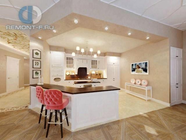 Дизайн кухни-гостиной в стиле неоклассика. Фото интерьера