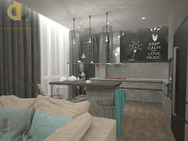 Урбанистическая кухня в двухкомнатной квартире в Подольске