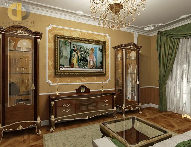 Дизайн ТВ-зоны в классическом стиле с парными витринами