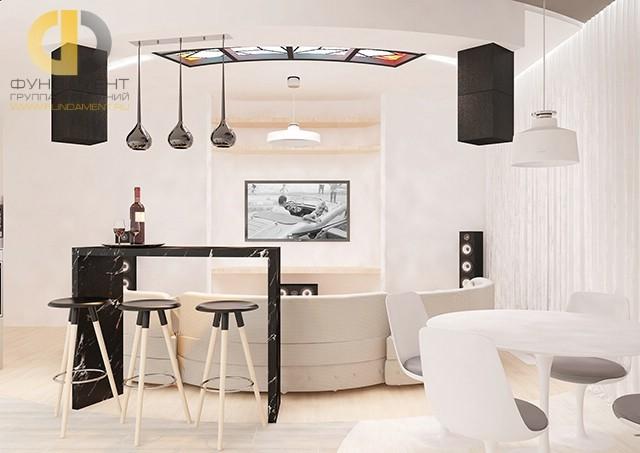 Потолочный витраж в декоре кухни-гостиной