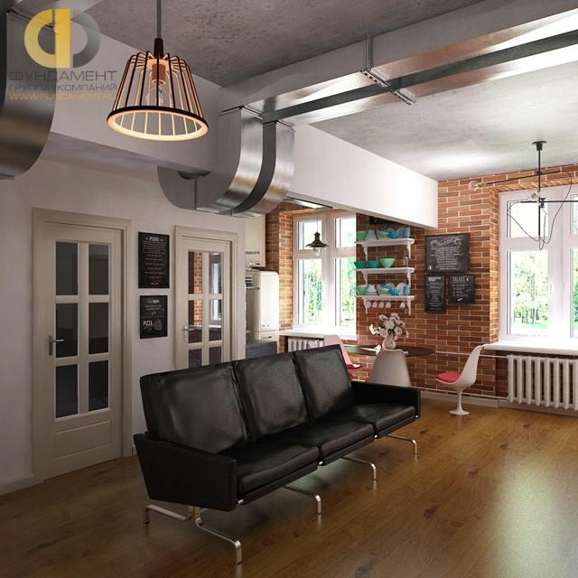 Дизайн гостиной, совмещенной с кухней, в стиле лофт