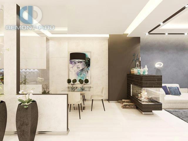Дизайн кухни-гостиной в частном доме в стиле контемпорари. Фото интерьера