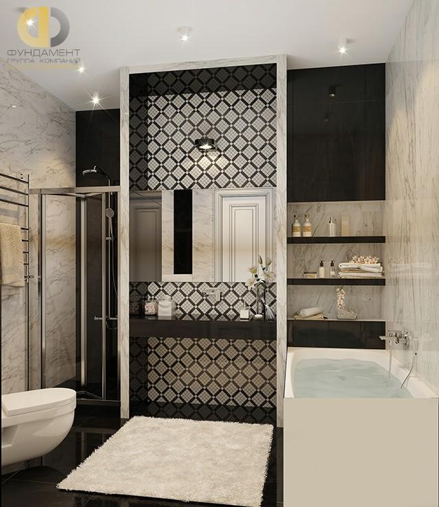 Современные идеи в дизайне ванной комнаты с отделкой из мрамора. Фото 2016