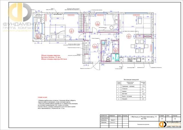 Рабочие чертежи дизайн-проекта квартиры 83 кв. м. Планировочное решение