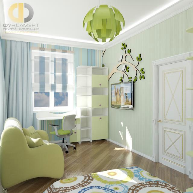 Дизайн детской комнаты для девочки. Фото интерьера в фисташковых тонах