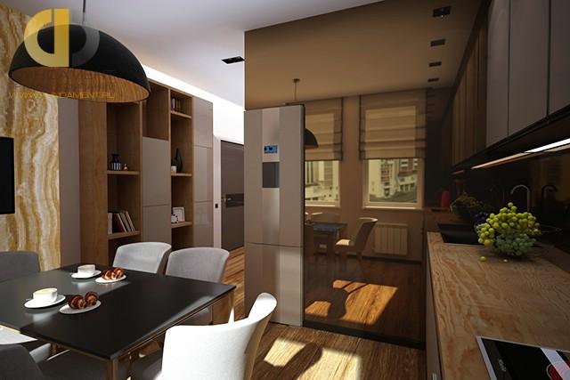 Дизайн кухни в однокомнатной квартире 40 кв. м. Фото интерьера