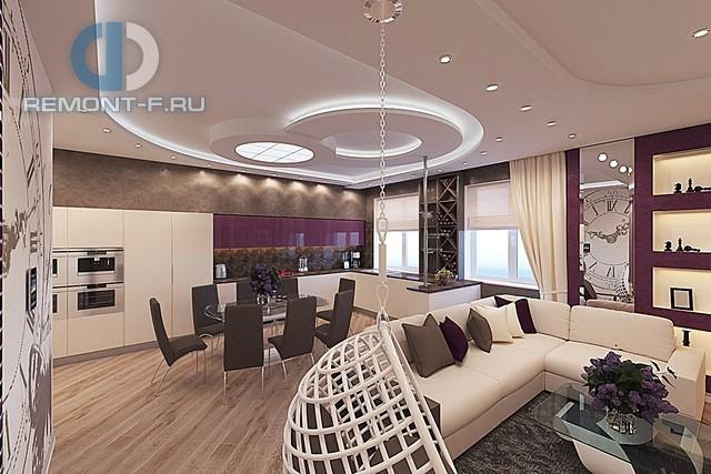 Дизайн гостиной-гостиной в современном стиле. Фото интерьера