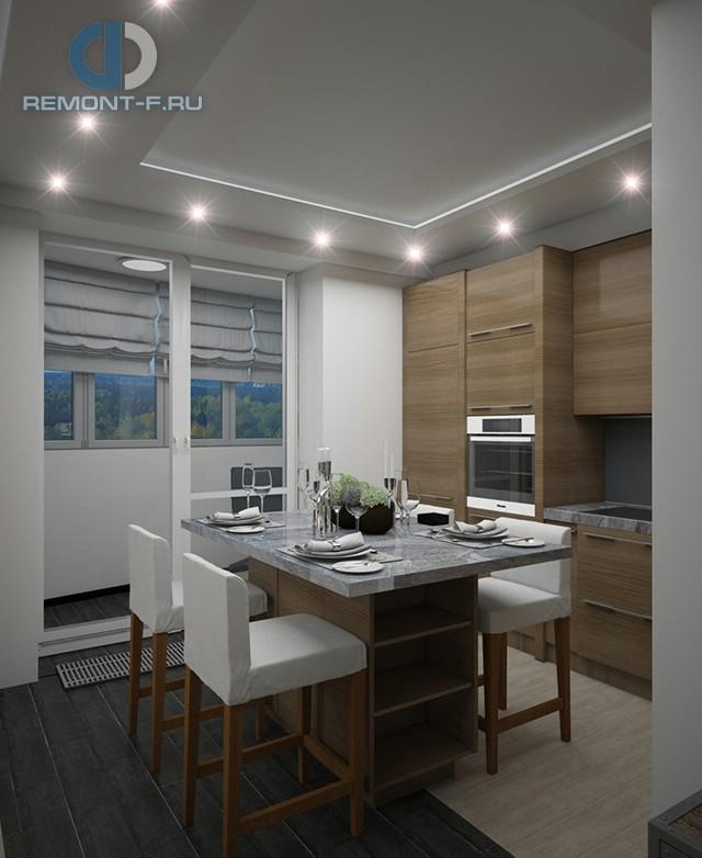 Дизайн кухни 9 кв. м с выходом на балкон. Фото интерьера 2016