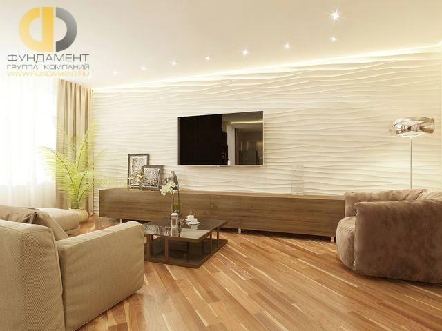 Интерьер современной гостиной в 2-комнатной квартире на Мосфильмовской