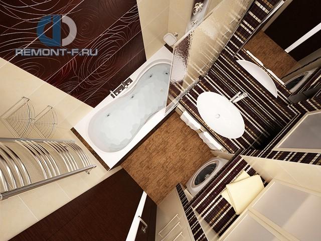 Интерьер ванной комнаты с хозяйственным блоком