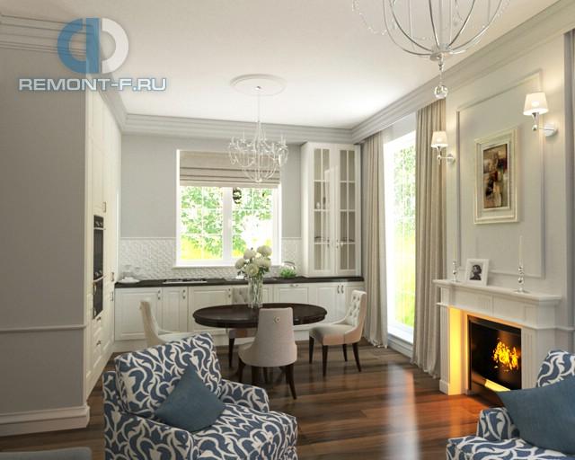 Камин в дизайне гостиной, совмещенной с кухней