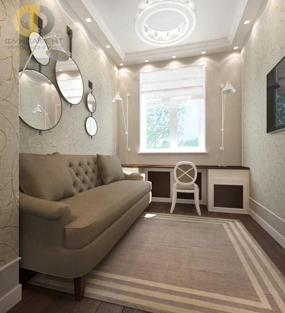 Дизайн спальни 12 кв. м с диваном. Фото интерьера в современном стиле