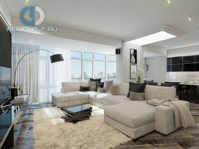 Дизайн кухни-гостиной в 3-комнатной квартире 105 кв. м в стиле минимализм.