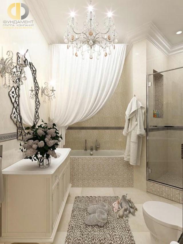 Отделка ванной комнаты плиткой: фото. Дизайн ванной в стиле неоклассика