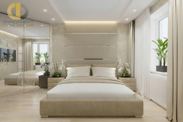 Современные идеи в дизайне спальни с зеркальным шкафом. Фото 2016