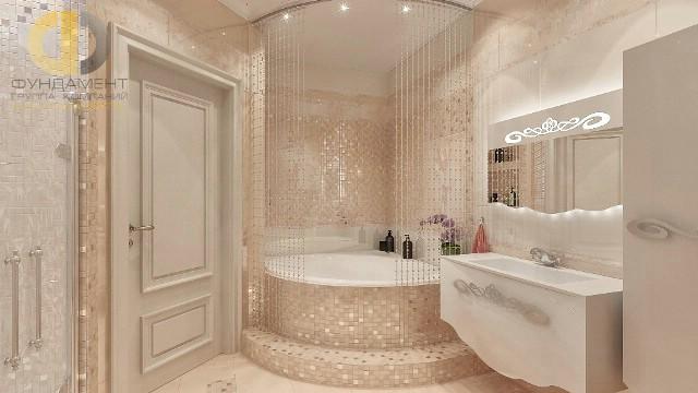 Отделка ванной комнаты плиткой: фото. Дизайн ванной с хрустальными шторами