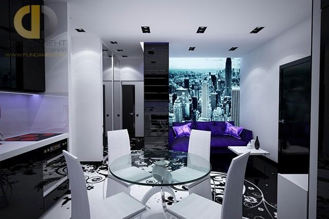 Интерьер кухни-гостиной 25 кв. м в современном стиле в 3-комнатной квартире