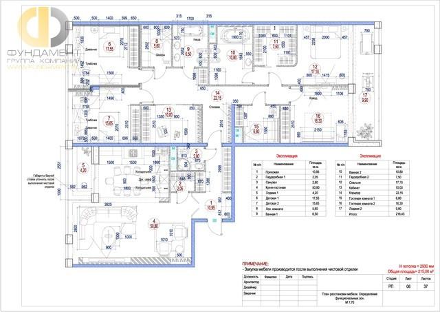 Рабочие чертежи дизайн-проекта квартиры 215 кв. м. План расстановки мебели