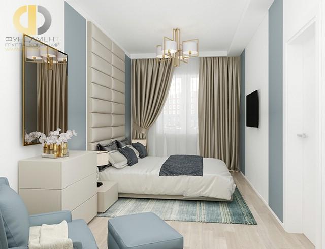 Современные идеи в дизайне спальни с голубыми акцентами. Фото 2017