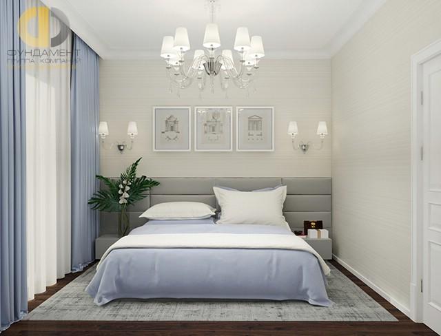 Дизайн современной спальни 12 кв. м. Фото интерьера с голубыми акцентами