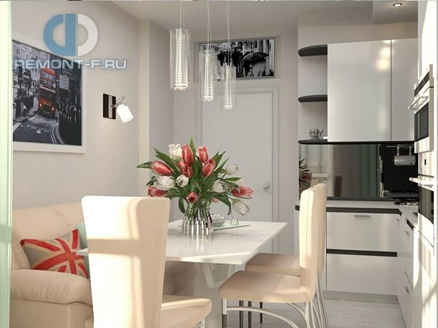 Дизайн кухни 9 кв. м с диваном. Фото интерьера 2016
