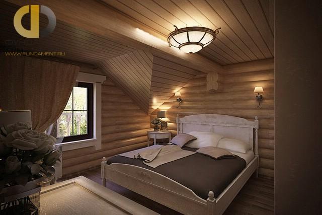 Дизайн спальни 15 кв. м. Фото интерьера на мансарде деревянного дома
