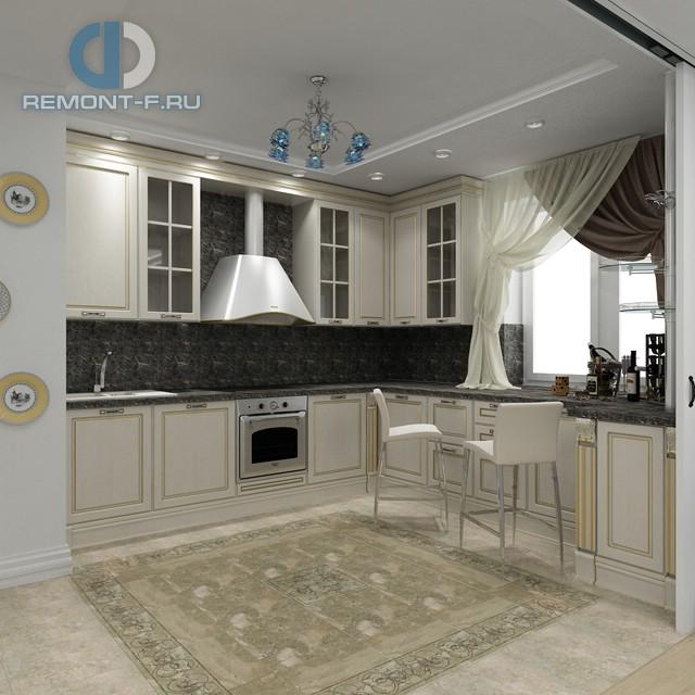 Дизайн кухни 12 кв. м в классическом стиле. Фото интерьера 2016