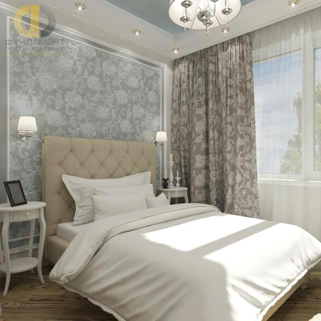 Дизайн спальни 12 кв. м с отделкой обоями. Фото интерьера в современном стиле