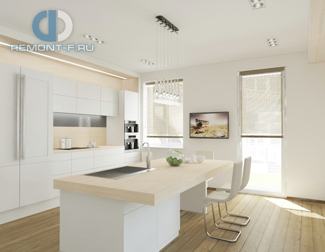 Дизайн кухни 12 кв. м в светлых тонах. Фото интерьера 2016