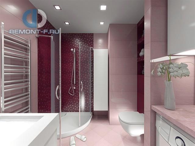 Интерьер ванной комнаты с отделкой в винных тонах