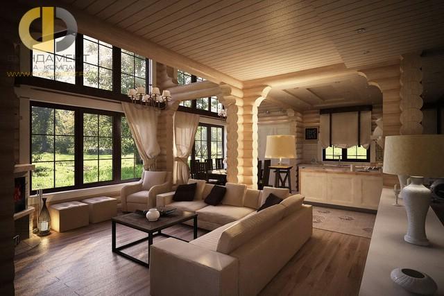 Кухня-гостиная в стиле кантри в деревянном доме