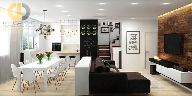 Дизайн гостиной, совмещенной с кухней. Фото квартиры в стиле лофт