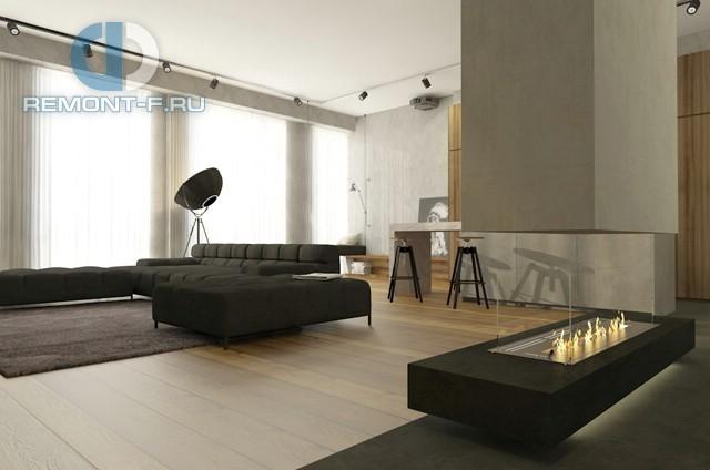 Дизайн кухни-гостиной в квартире в стиле минимализм. Фото интерьера
