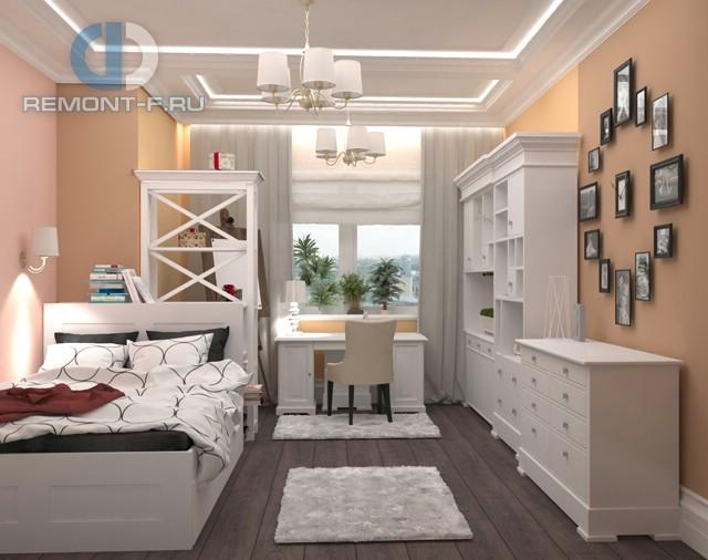 Дизайн спальни 12 кв. м с мини-кабинетом. Фото интерьера в современном стиле