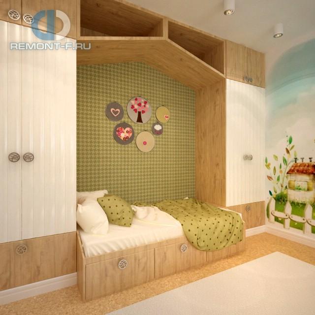 Зона сна и система хранения в детской