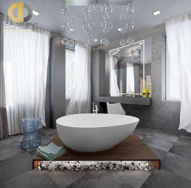 Ванная чаша на подиуме в интерьере